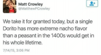 Lifetime, Today, and Peasant: Matt Crowley  @MatthewPCrowley  We take it for granted today, but a single  Dorito has more extreme nacho flavor  than a peasant in the 1400s would get in  his whole lifetime.  7/14/15, 3:06 PM Meirl