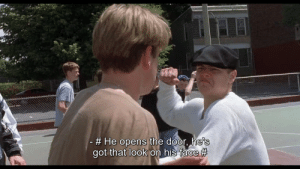 Matt Damon in Good Will Hunting (1997) has a fight with Leonardo Di Caprio during the opening minutes of the film: Matt Damon in Good Will Hunting (1997) has a fight with Leonardo Di Caprio during the opening minutes of the film