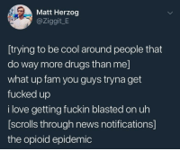 me irl: Matt Herzog  @Ziggit_E  [trying to be cool around people that  do way more drugs than me]  what up fam you guys tryna get  fucked up  i love getting fuckin blasted on uh  [scrolls through news notifications]  the opioid epidemic me irl