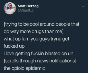 me irl by Zog8 MORE MEMES: Matt Herzog  @Ziggit_E  [trying to be cool around people that  do way more drugs than me]  what up fam you guys tryna get  fucked up  i love getting fuckin blasted on uh  [scrolls through news notifications]  the opioid epidemic me irl by Zog8 MORE MEMES