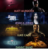 Memes, Link, and 🤖: MATT MURDOCK  JESSICA  JESSICA JONES  IGI @COMIX UNLIMITED  LIIKE  LUKE CAGE  IR LAN FIST  DANNY RAND New 'DEFENDERS' trailer released!!!! (LINK IN BIO)