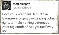 Memes, 🤖, and Proposal: Matt Murphy  @Matt Murph 24  Have you ever heard Republican  lawmakers propose expanding voting  rights & implementing automatic  voter registration? Ask yourself why  not Gee, I wonder why.  < Snarky Pundit> LIKE and Follow for more!
