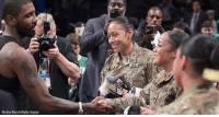 Boston Celtics star Kyrie Irving capped off Military Appreciation Night at Brooklyn's Barclays Center by giving his game-worn jersey and shoes to members of the U.S. military.: Matteo MarchiGetty Images Boston Celtics star Kyrie Irving capped off Military Appreciation Night at Brooklyn's Barclays Center by giving his game-worn jersey and shoes to members of the U.S. military.