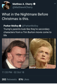 Christmas, Life, and Parents: Matthew A. Cherry  @MatthewACherry  What in the Nightmare Before  Christmas is this.  Parker Molloy@ParkerMolloy  Trump's parents look like they're secondary  characters from a Tim Burton movie come to  life  Trump  11:33 PM-02 Oct 18  202 Retweets 876 Likes Fred Skellington and Oogie Boogie