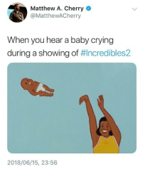 Blackpeopletwitter, Crying, and Life: Matthew A. Cherry  @MatthewACherry  When you hear a baby crying  during a showing of #Incredibles2  2018/06/15, 23:56 <p>Baby is life. (via /r/BlackPeopleTwitter)</p>