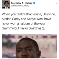 Beyonce, Kanye, and Mariah Carey: Matthew A. Cherry  @MatthewACherry  When you realize that Prince, Beyonce,  Mariah Carey and Kanye West have  never won an album of the year  Grammy but Taylor Swift has 2.
