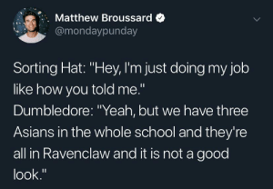 "Yo, the Sorting Hat is racist af: Matthew Broussard  @mondaypunday  Sorting Hat: ""Hey, I'm just doing my job  like how you told me.""  Dumbledore: ""Yeah, but we have three  Asians in the whole school and they're  all in Ravenclaw and it is not a good  look."" Yo, the Sorting Hat is racist af"