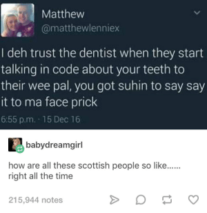 Scottish Twitter is really something: Matthew  @matthewlenniex  I deh trust the dentist when they start  talking in code about your teeth to  their wee pal, you got suhin to say say  it to ma face prick  6:55 p.m. 15 Dec 16  babydreamgirl  how are all these scottish people so like......  right all the time  215,944 notes Scottish Twitter is really something
