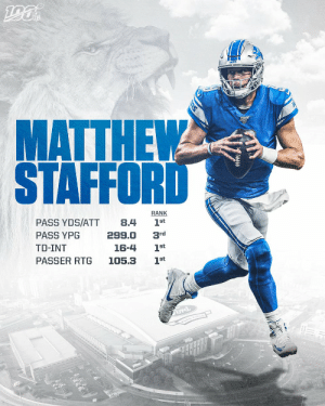 Matthew Stafford's best season yet?   📺: #DETvsOAK -- TOMORROW at 4:05PM ET on FOX  📱: NFL app // Yahoo Sports app https://t.co/a01HI8iAiq: MATTHEW  STAFFORD  RANK  PASS YDS/ATT  8.4  1st  PASS YPG  299.0  3rd  TD-INT  1st  16-4  PASSER RTG  105.3  1st  ord  FORD FIELE  IS Matthew Stafford's best season yet?   📺: #DETvsOAK -- TOMORROW at 4:05PM ET on FOX  📱: NFL app // Yahoo Sports app https://t.co/a01HI8iAiq
