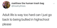 Life, Trash, and MeIRL: matthew the human trash bag  atrashythisis  Adult life is way too hard can l just go  back to being bullied in highschool  please meirl