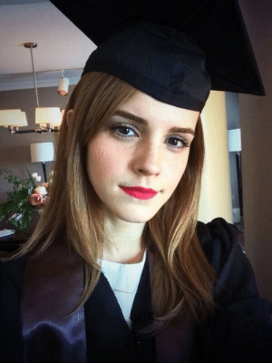 matthewhubbard:  Today,Emma Watsongraduated from one of the most prestigious Ivy League colleges, Brown University, with a Bachelor's Degree in English Literature. She may be best known for her role as Hermione Granger in the movie adaptions of the Harry Potter series, but this young woman was determined to acquire an education—while simultaneously starring in 4 films (two of which were the last installments of the Harry Potter franchise). I just wanted to take a moment and praise Ms. Watson for her accomplishments. You don't see her in the headlines for drug involvement or rehab or what have you. No. Some associations tied to her name include modeling, designing eco-friendly clothing, education, promoting positive body image, and supporting schools in Africa. To me, this is the epitome of a great role model not only for young girls but for anyone. To borrow a clichéd saying, she's got a good head on her shoulders. Besides, English literature is pretty darn cool anyhow. : matthewhubbard:  Today,Emma Watsongraduated from one of the most prestigious Ivy League colleges, Brown University, with a Bachelor's Degree in English Literature. She may be best known for her role as Hermione Granger in the movie adaptions of the Harry Potter series, but this young woman was determined to acquire an education—while simultaneously starring in 4 films (two of which were the last installments of the Harry Potter franchise). I just wanted to take a moment and praise Ms. Watson for her accomplishments. You don't see her in the headlines for drug involvement or rehab or what have you. No. Some associations tied to her name include modeling, designing eco-friendly clothing, education, promoting positive body image, and supporting schools in Africa. To me, this is the epitome of a great role model not only for young girls but for anyone. To borrow a clichéd saying, she's got a good head on her shoulders. Besides, English literature is pretty darn cool anyhow.
