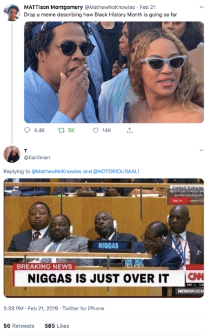 Black History Month, cnn.com, and Dank: MATTison Montgomery @MathewNoKnowles Feb 21  Drop a meme describing how Black History Month is going so far  14K  @tianiiman  Replying to @MathewNoKnowles and @NOTORIOUSAALI  NIGGAS  BREAKING NEWS  NIGGAS IS JUST OVER IT C  CNN  NEWSROOM  3:38 PM-Feb 21, 2019 Twitter for iPhone  56 Retweets  585 Likes Just cancel black history month this year, well try again next year 🤦🏾‍♂️ by MGLLN MORE MEMES