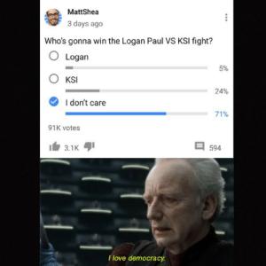 *Unexcitement intensifies*: MattShea  3 days ago  Who's gonna win the Logan Paul VS KSI fight?  O Logan  5%  KSI  24%  I don't care  71%  91K votes  3.1K  594  I love democracy *Unexcitement intensifies*