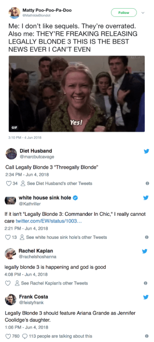 "buzzfeed:  Literally Just 15 Perfect Tweets About ""Legally Blonde 3"": Matty Poo-Poo-Pa-Doo  @MathildeBlondot  Follow  Me: I don't like sequels. They're overrated.  Also me: THEY'RE FREAKING RELEASING  LEGALLY BLONDE 3 THIS IS THE BEST  NEWS EVER I CAN'T EVEN  Yesl  GIF  3:10 PM-4 Jun 2018   Diet Husband  @marcbutcavage  Call Legally Blonde 3 ""Threegally Blonde""  2:34 PM -Jun 4, 2018  34  See Diet Husband's other Tweets  6   white house sink hole  @Kathriller  If it isn't ""Legally Blonde 3: Commander In Chic,"" really cannot  care twitter.com/EW/status/1003...  2:21 PM-Jun 4, 2018  13  See white house sink hole's other Tweets  6   Rachel Kaplan  @rachelshoshanna  legally blonde 3 is happening and god is good  4:08 PM-Jun 4, 2018  See Rachel Kaplan's other Tweets  ее   Frank Costa  @feistyfrank  Legally Blonde 3 should feature Ariana Grande as Jennifer  Coolidge's daughter.  1:06 PM- Jun 4, 2018  760  113 people are talking about this  6 buzzfeed:  Literally Just 15 Perfect Tweets About ""Legally Blonde 3"""