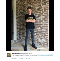 Memes, Girlfriend, and 🤖: MattyBRaps  @Matty BRaps Apr 29  Hide your girlfriend... I'm headed out for the day  pictwitter.com/dmXLx06Ewb  4, 8K t 63K 105K I didn't post the full version at first