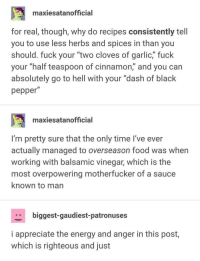 "I agree with every word of this: maxiesatanofficial  for real, though, why do recipes consistently tell  you to use less herbs and spices in than you  should. fuck your ""two cloves of garlic,"" fuck  your ""half teaspoon of cinnamon,"" and you can  absolutely go to hell with your ""dash of black  pepper  maxiesatanofficial  I'm pretty sure that the only time I've ever  actually managed to overseason food was when  working with balsamic vinegar, which is the  most overpowering motherfucker of a sauce  known to man  biggest-gaudiest-patronuses  i appreciate the energy and anger in this post  which is righteous and just I agree with every word of this"