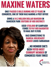 """Memes, Post Office, and Wow: MAXINE WATERS  ONLY PASSED 3 BILLS DURING HER 27 YEARS IN  CONGRESS, ONE OF THEM WAS NAMING A POST OFFICE  OWNS A $4.3 MILLION DOLLAR MANSION IN  HANCOCK PARK (OUTSIDE OF HER DISTRICT)  USED $750,000 OF CAMPAIGN  FUNDS TO PAY HER DAUGHTER  TO MAIL OUT FLYERS  HAS CONNECTIONS TO  RADICAL HOLOCAUST  DENIER LOUIS FARRAKHAN  .NO WONDER SHE'S  BEEN VOTED MOST  CORRUPT MEMBER OF  CONGRESS FOUR TIMES!  TURNING  POINT USA WOW! Maxine Waters Continues To Win The Award For """"Most Corrupt Member Of Congress""""  ...Looks Like It's Well Deserved! 😂😂😂"""