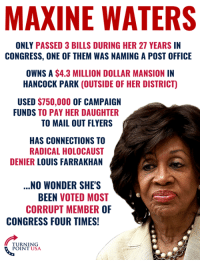 Memes, Post Office, and Holocaust: MAXINE WATERS  ONLY PASSED 3 BILLS DURING HER 27 YEARS IN  CONGRESS, ONE OF THEM WAS NAMING A POST OFFICE  OWNS A $4.3 MILLION DOLLAR MANSION IN  HANCOCK PARK (OUTSIDE OF HER DISTRICT)  USED $750,000 OF CAMPAIGN  FUNDS TO PAY HER DAUGHTER  TO MAIL OUT FLYERS  HAS CONNECTIONS TO  RADICAL HOLOCAUST  DENIER LOUIS FARRAKHAN  .NO WONDER SHE'S  BEEN VOTED MOST  CORRUPT MEMBER OF  CONGRESS FOUR TIMES!  TURNING  POINT USA The TRUTH About Maxine Waters... #BigGovSucks