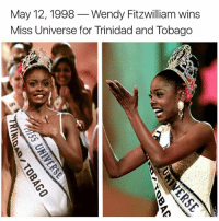 Memes, Miss Universe, and 🤖: May 12, 1998  Wendy Fitzwilliam wins  Miss Universe for Trinidad and Tobago