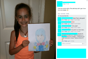 Anime, Apparently, and Crunchyroll: May 17  I love her artistic ability! She definitely didn't get it from  me or her daddy.  Like Comment Share  58 people like this.  Wow! That's really good!  Like Reply 1 May 17 at 9:14pm  Like Reply 1 May 17 at 10:14pm  That's great!  Like Reply 1 May 17 at 11:15pm  Truly gifted I so many ways...  Like Reply 1 May 17 at 11:31pm  we sure do  appreciate the care your family lavished on or  during our vacation. I missed him but  I didn't worry for a minute. Thanks a billion!!!!!  Like Reply 1 13 hrs  Write a comment... blue-eyed-hanji:   shishkababoo:  doodlingfanboy:  inrealityadream:  erens-bushy-eyebrows:  voyeurhour:  notcuddles:  strawbeary-boy:  umineko-nerd:  This is a real thing I found on my Facebook feed. This child is 8. God help us all.  Ah yes. Shame young artists as if you all didn't start somewhere. As if your first attempts at art weren't shitty as fuck.  Good on her family for encouraging her creativity.  Fuck y'all for picking on an eight year old girl.  No, no, it's not that!  OP is reacting to the fact that this 8 year old has, apparently, drawn Aoba, a character from Dramatical Murder, which is a video game that is DEFINITELY NOT APPROPRIATE for an 8 year old.  I think the anime might be…less explicit?  It's up on Crunchyroll without any warnings so I assume it's not actually pornographic, but still…..  this character gets fisted by a robot lion in the video game   A robot snake fucks him as well  The robot lion used cake frosting as lube  He gets trapped in his own mind vividly hallucinating of his pet dog as a human fucking him while ripping off his arm and eating him.  IM SCREAMING  OUR POINT IS THIS SMALL CHILD SHOULD N O T KNOW WHO AOBA SERAGAKI IS, MUCH LESS WHAT HE LOOKS LIKE