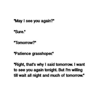 """Http, Patience, and See You Again: """"May I see you again?""""  """"Sure""""  Tomorrow?  Patience grasshoper*  """"Right, that's why I said tomorrow. I want  to see you again tonight. But I'm willing  till wait all night and much of tomorrow."""" http://iglovequotes.net/"""