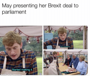 parliament: May presenting her Brexit deal to  parliament  2C  -I  Started making it  ade with mematic
