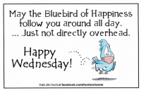 Visit www.JimHunt.us to see more of my illustration work.  -Jim: May the Bluebird of Happiness  Follow you around all day  Just not directly overhead.  Happy  Wednesday!  Visit Jim Hunt at facebook.com/huntcartoons Visit www.JimHunt.us to see more of my illustration work.  -Jim