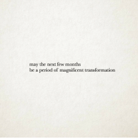 Period, Magnificent, and Next: may the next few months  be a period of magnificent transformation
