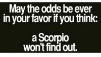 may the odds be ever in your favor: May the odds be ever  in your favor if you think:  a Scorpio  won't find out.