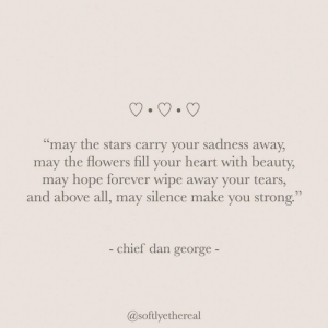 "May The: ""may the stars carry your sadness away  may the flowers fill your heart with beauty,  may hope forever wipe away your tears,  and above all, may silence make you strong.  - chief dan george-  @softlyethereal"