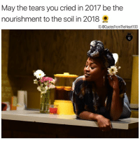 Memes, 🤖, and Grow: May the tears you cried in 2017 be the  nourishment to the soil in 2018  G @QuotesFromTheHeart100 Grow & Glo 👑👑👑