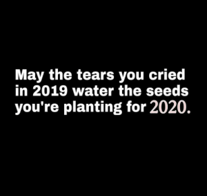 damn bro that's true: May the tears you cried  in 2019 water the seeds  you're planting for 2020. damn bro that's true