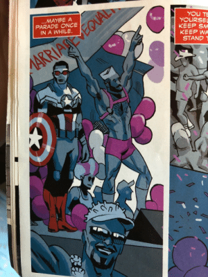 Target, Tumblr, and Blog: MAYBE A  PARADE ONCE  IN A WHILE.  KEEP SM  KEEP WA  STAND 1 angelsamwilson:Sam Wilson's a mlm everyone go home we did it lads
