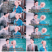 monica and chandler: Maybe  be nice  they had some  privacy, you know?  So, couldljust move  in with you for a  Um, yeah, okay, sure. But what's  couple days?  wrong with Monica and Chandler?  Nothing. Why?  Phoebe, you said it was urgent.  REX  Oh, yeah t is.I'm going to the movies  Do you realizelhavea classroom  and it Starts in like 5 minutes  ful of students?  CHANOEys  Oh, I'm sorry Imso rude. Does  anyone wanna Come to the movies?