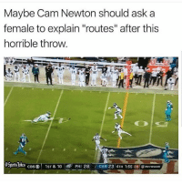 "Cam Newton, Casper, and Friends: Maybe Cam Newton should ask a  female to explain ""routes"" after this  horrible throw  84  SPrS S  PHI 28CAR 23 4TH 1:55 09onn  CBSO 