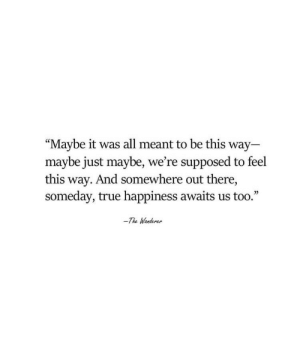 "True, Happiness, and All: ""Maybe it was all meant to be this way  maybe just maybe, we're supposed to feel  this way. And somewhere out there,  someday, true happiness awaits us too.""  -The Wanderer"