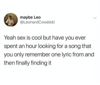 Funny, Sex, and Yeah: maybe Leo  @LeonardCowalski  Yeah sex is cool but have you ever  spent an hour looking for a song that  you only remember one lyric from and  then finally finding it Pure ecstasy