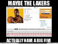 Facebook, Los Angeles Lakers, and Meme: MAYBE THE LAKERS  Antawn Jamison  #4 Forward  2011-12 Statistics  MPARE PLAYER STATS  172  Select A Team  Select A Player  COMPARE GOTO  1465  Jun 12, 1976  AutoTrader om  216 lbs /1066 kg.  Prot to NBA Country:  North Carolina USA  WATCH VIDEO  Tristan's crusher  Nice Dish Inside  E-ma photo ibayphatos Galery  iamson Thompson  More Video  earner and  SEASON AVERAGE  ACTUALLY HAVE A BIG FIVE  Brought By Facebook.  com/NBAMermes Lakers KEY acquisition? Credit: Derin Candas  http://whatdoumeme.com/meme/hnstvf