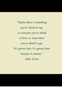 "It Matters: ""Maybe there's something  you're afraid to say,  or someone you're afraid  to love, or somewhere  you're afraid to go.  It's gonna hurt. It's gonna hurt  because it matters.""  John Greern"