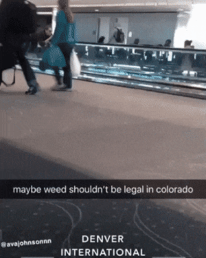 New technique using moving walkaway, Level 100.: maybe weed shouldn't be legal in colorado  DENVER  avajohnsonnn  INTERNATIONAL New technique using moving walkaway, Level 100.