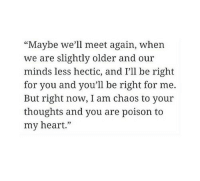 """hectic: """"Maybe we'll meet again, when  we are slightly older and our  minds less hectic, and I'll be right  for you and you'll be right for me.  But right now, I am chaos to your  thoughts and you are poison  my heart."""""""