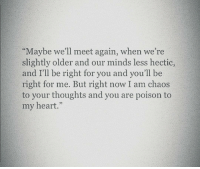 """hectic: Maybe we'll meet again, when we're  slightly older and our minds less hectic,  and I'll be right for you and you'll be  right for me. But right now I am chaos  to your thoughts and you are poison to  my heart."""""""