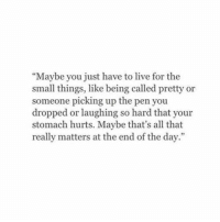 """Live, All That, and Day: """"Maybe you just have to live for the  small things, like being called pretty or  someone picking up the pen you  dropped or laughing so hard that your  stomach hurts. Maybe that's all that  really matters at the end of the day.""""  92"""