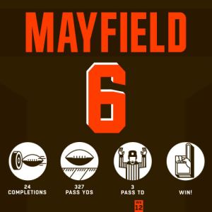 .@bakermayfield woke up feeling dangerous. 😤 #HaveADay  @Browns | #Browns https://t.co/AX2vh4RVdf: MAYFIELD  GAD  327  PASS YDS  24  COMPLETIONS  WIN!  PASS TD  WK  12 .@bakermayfield woke up feeling dangerous. 😤 #HaveADay  @Browns | #Browns https://t.co/AX2vh4RVdf