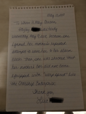 What my mother wrote to excuse my sister's tardiness.: mayI,40r  Hagley  2018 What my mother wrote to excuse my sister's tardiness.