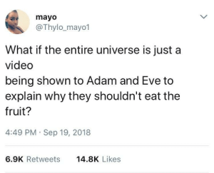 How high are you right now? by firesnotfound MORE MEMES: mayo  @Thylo_mayo1  What if the entire universe is just a  video  being shown to Adam and Eve to  explain why they shouldn't eat the  fruit?  4:49 PM Sep 19, 2018  6.9K Retweets  14.8K Likes How high are you right now? by firesnotfound MORE MEMES