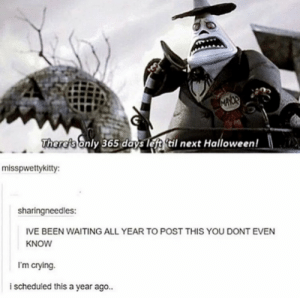 posting this every year. year 2 by mastersmiley03 MORE MEMES: MAYOR  Theref's only 365 days left til next Halloween!  misspwettykitty  sharingneedles:  IVE BEEN WAITING ALL YEAR TO POST THIS YOU DONT EVEN  KNOW  I'm crying.  i scheduled this a year ago.. posting this every year. year 2 by mastersmiley03 MORE MEMES