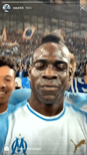 Instagram, Soccer, and Mario: mb459 16m  message Mario Balotelli just scored a goal for Marseille and celebrated by going on Instagram Live on the pitch. What a guy 😂😂 https://t.co/rpyTFLCysS