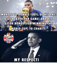 "Anaconda, Football, and Memes: MBAP PETO""DONATE 100% OF HIS PAY  $203K ($29KAPER GAME) AND  HIS  $350K BONUS FOR WINNING THE  15  yoRLD UP) TO CHARITY.  WE TROLL  FOOTBALL  MY RESPECT! Great Player, Great Guy ..."
