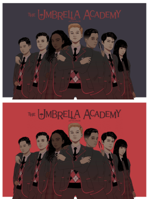 Tumblr, Academy, and Blog: MBRELLA ACADEMY  THE  ARTSCA   JMBRELLA ACADEMY  THE  ARTSCAPADE artscapade:  The Young Umbrella Academy*resurfaces from the dead to shove this fan art down everyone's throats* Who else is completely obsessed with this show? I know I am!